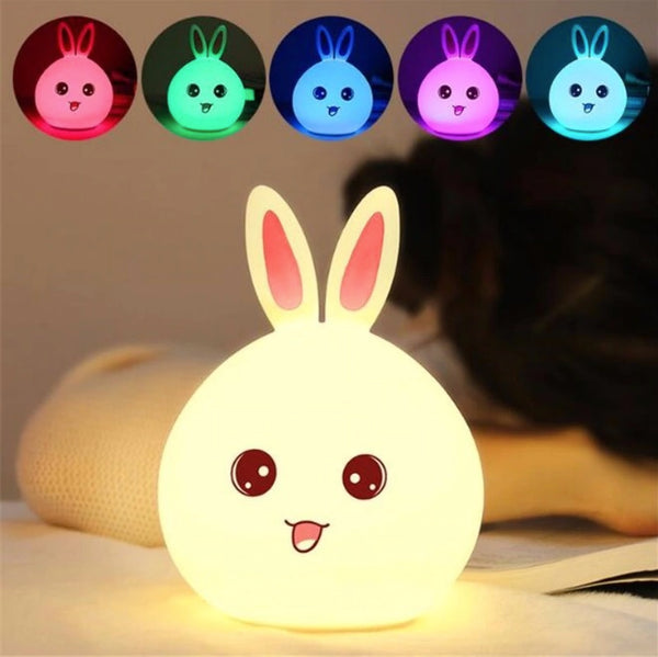 Squishy Bunny LED Night Light Colorful Rabbit Color Changing Lamp for baby kids children Silicone Touch Sensor bedroom decor by sooknewlook