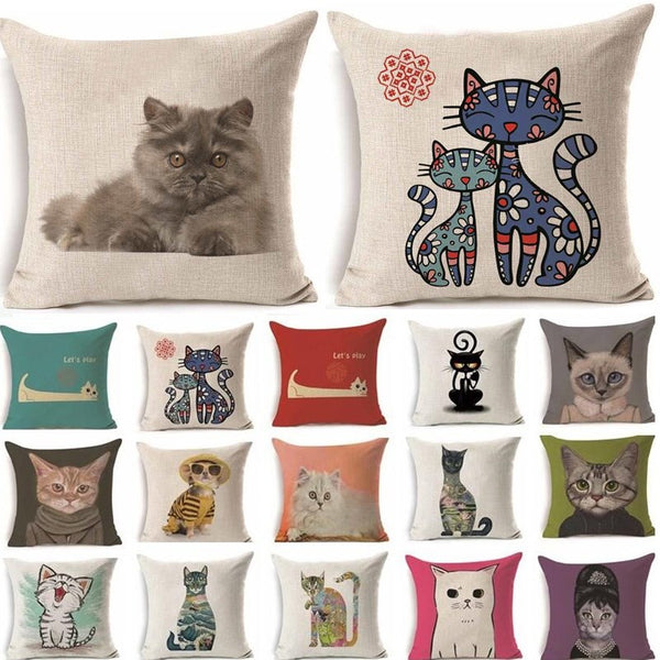 Cats Cushion Cover Cartoon Style