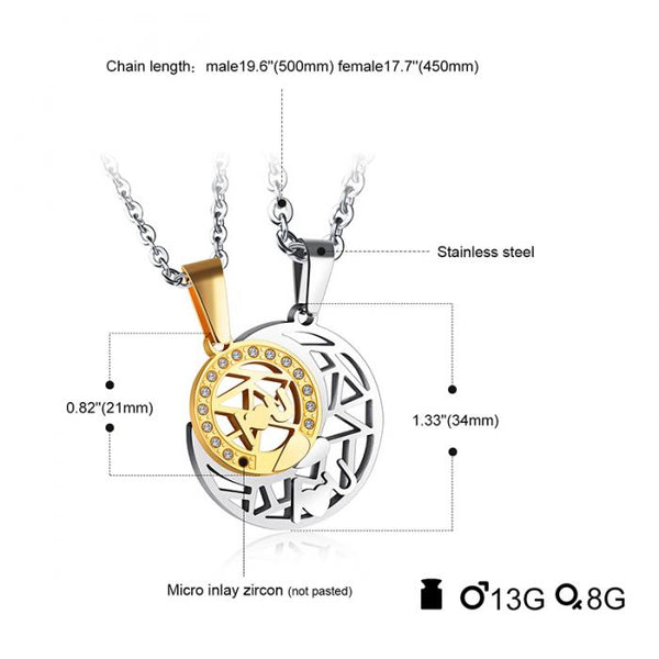 Romantic Gift : Sun & Moon Necklace For Lovers