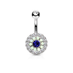 Multi Crystal 3 Layer 316L Surgical Steel Non Dangle Belly Ring - Pierced Universe