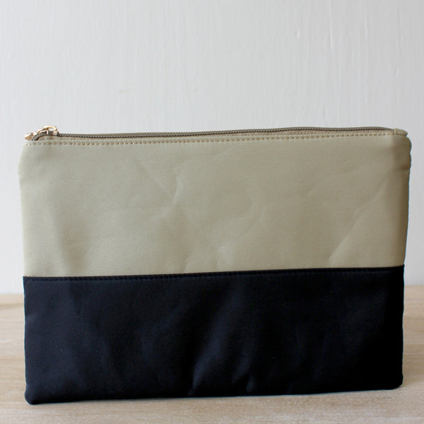 Black & White Colorblock Cosmetic Bag