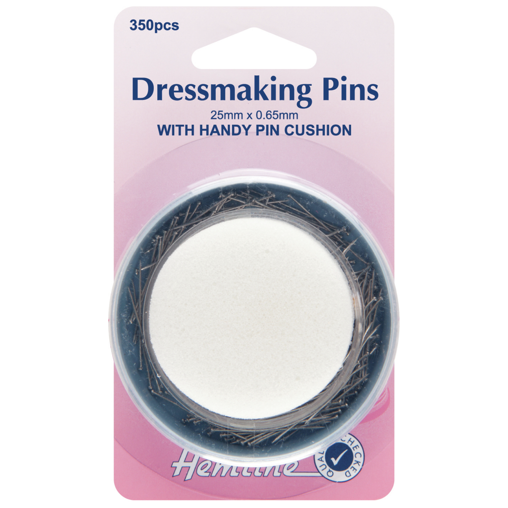 Dressmaker Pins & Foam Pincushion: 25mm: 350 Pieces
