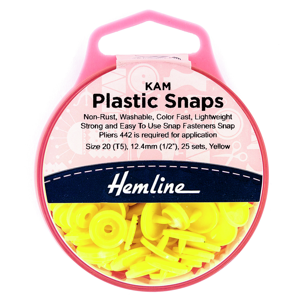 KAM Plastic Snaps: 25 x 12.4mm Sets: Yellow