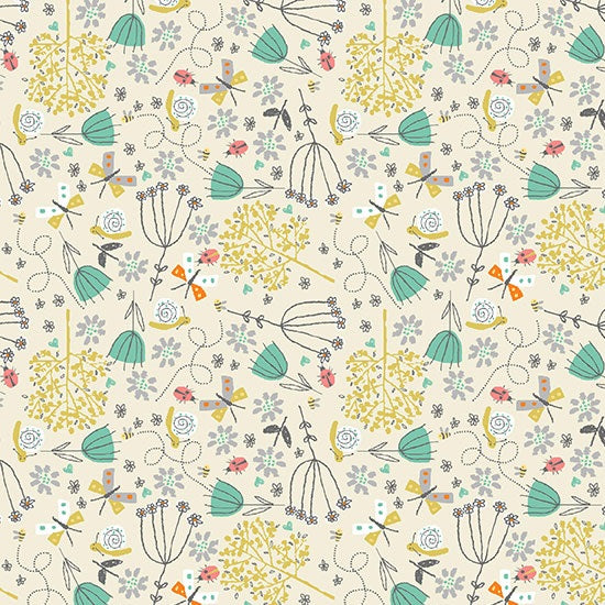 *NEW* A Walk In The Park - Flowers - Cream
