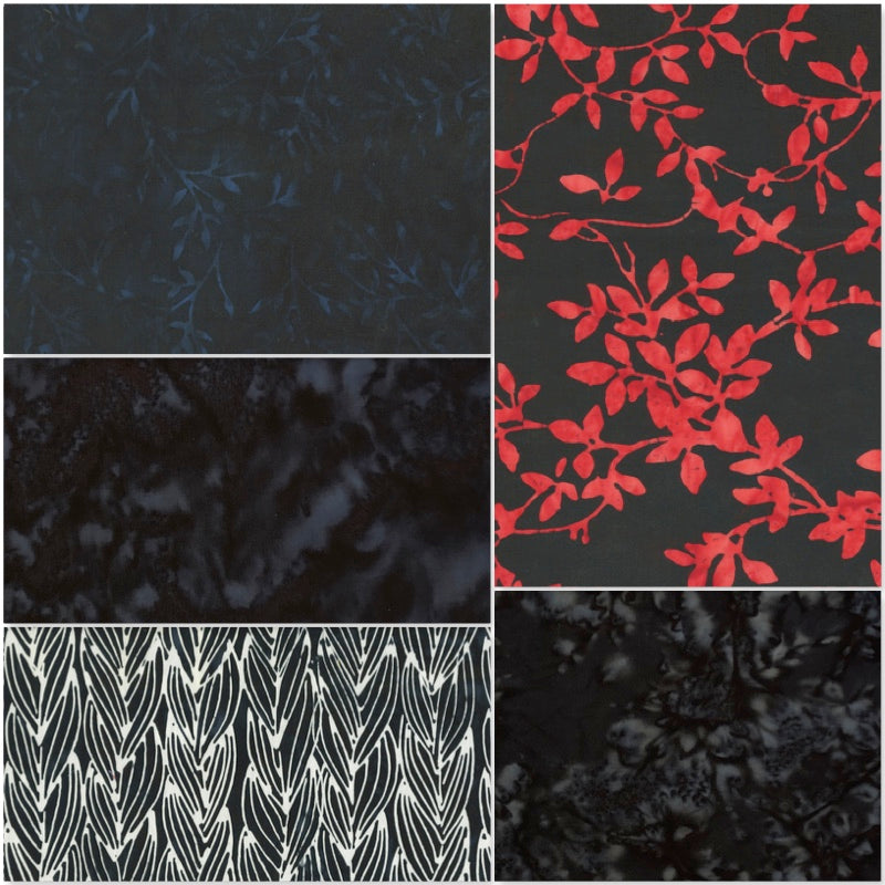 Anthology Batik - Fat Quarter Pack - Black (5)