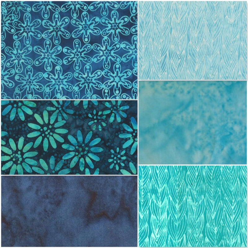 Anthology Batik - Fat Quarter Pack - Blue (6)