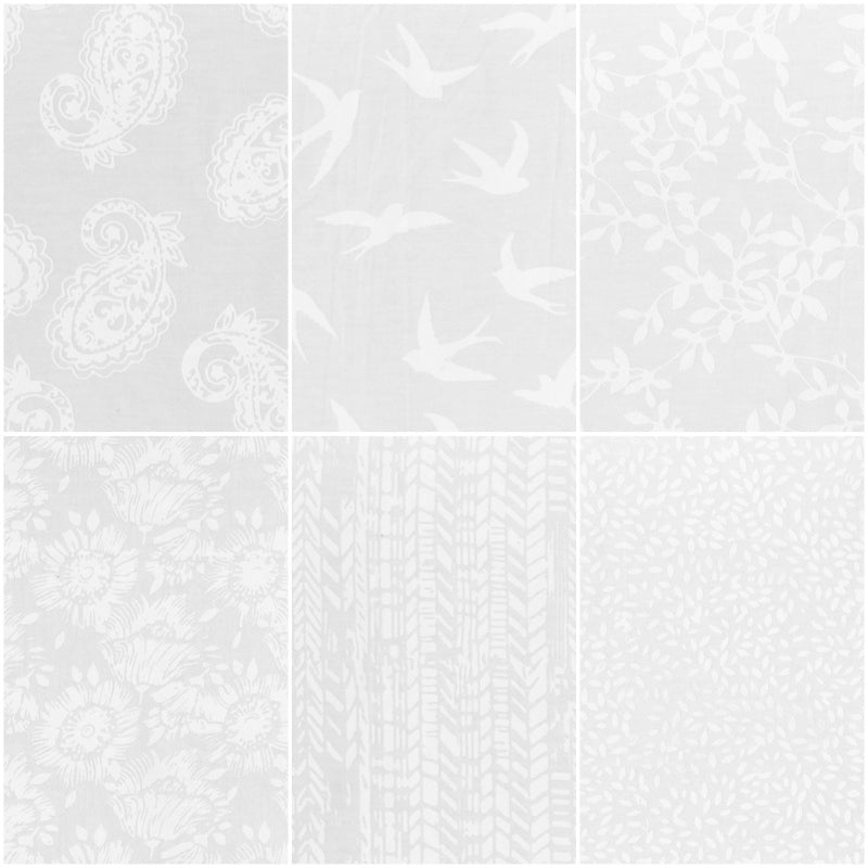 *NEW* Anthology Batik - Fat Quarter Pack - White (6)