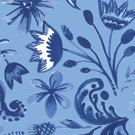 Blue Porcelain - Floral - Blue
