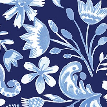 Blue Porcelain - Floral - Dark Blue