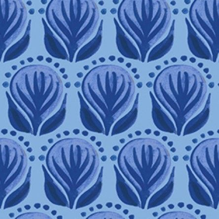 Blue Porcelain - Pottery Floral - Blue