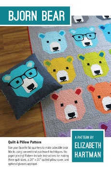 *NEW* Elizabeth Hartman - Bjorn Bear - Quilt & Pillow Pattern