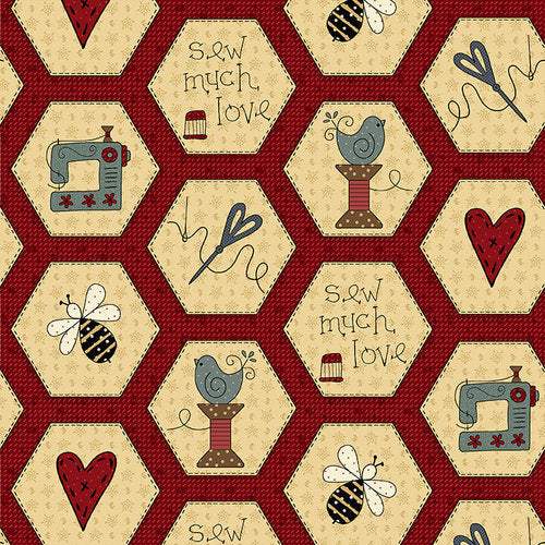 *NEW* Home Sewn - Hexies - Red