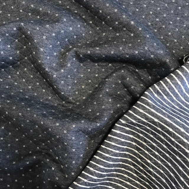 Quilt Look Jersey - Navy with Silver