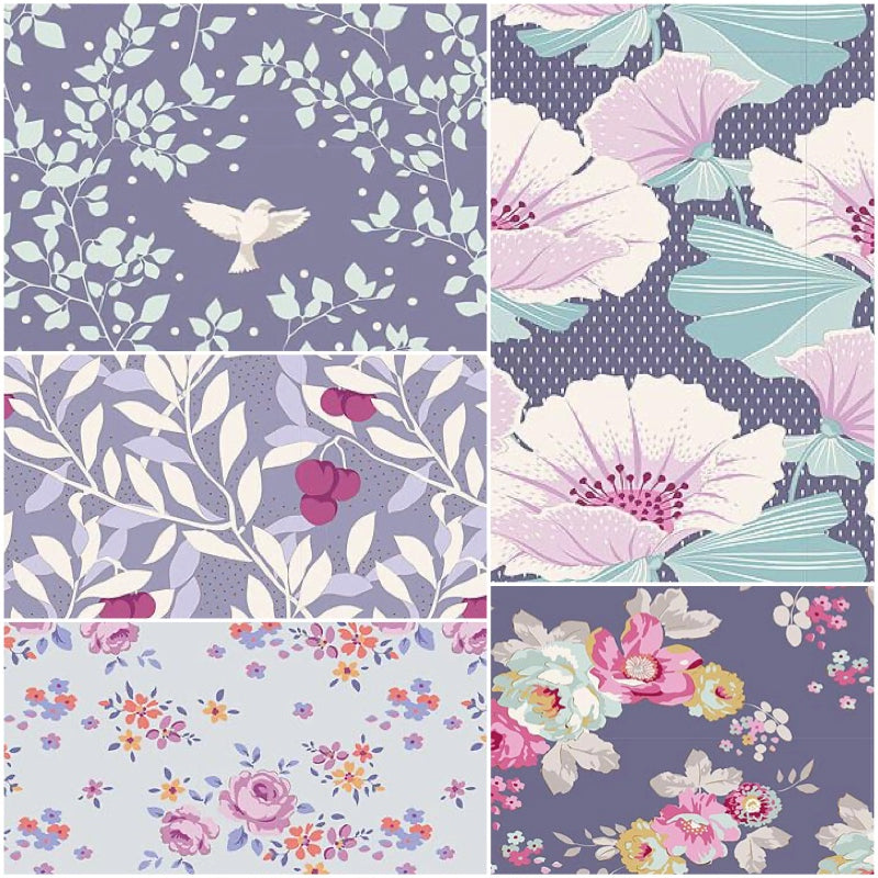 Tilda Maple Farm - Fat Quarter Pack - Blueberry (5)