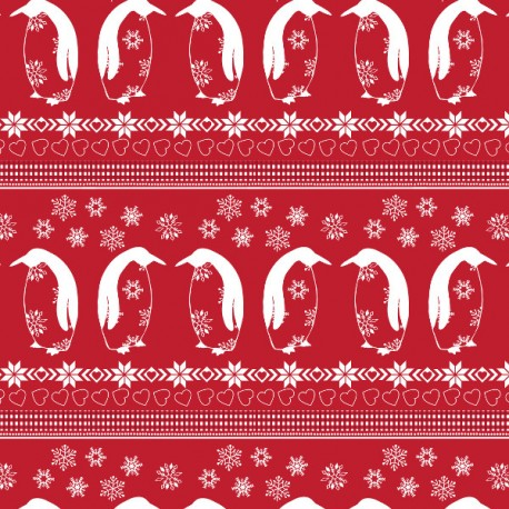 Nordic Christmas - Penguin Parade - Red