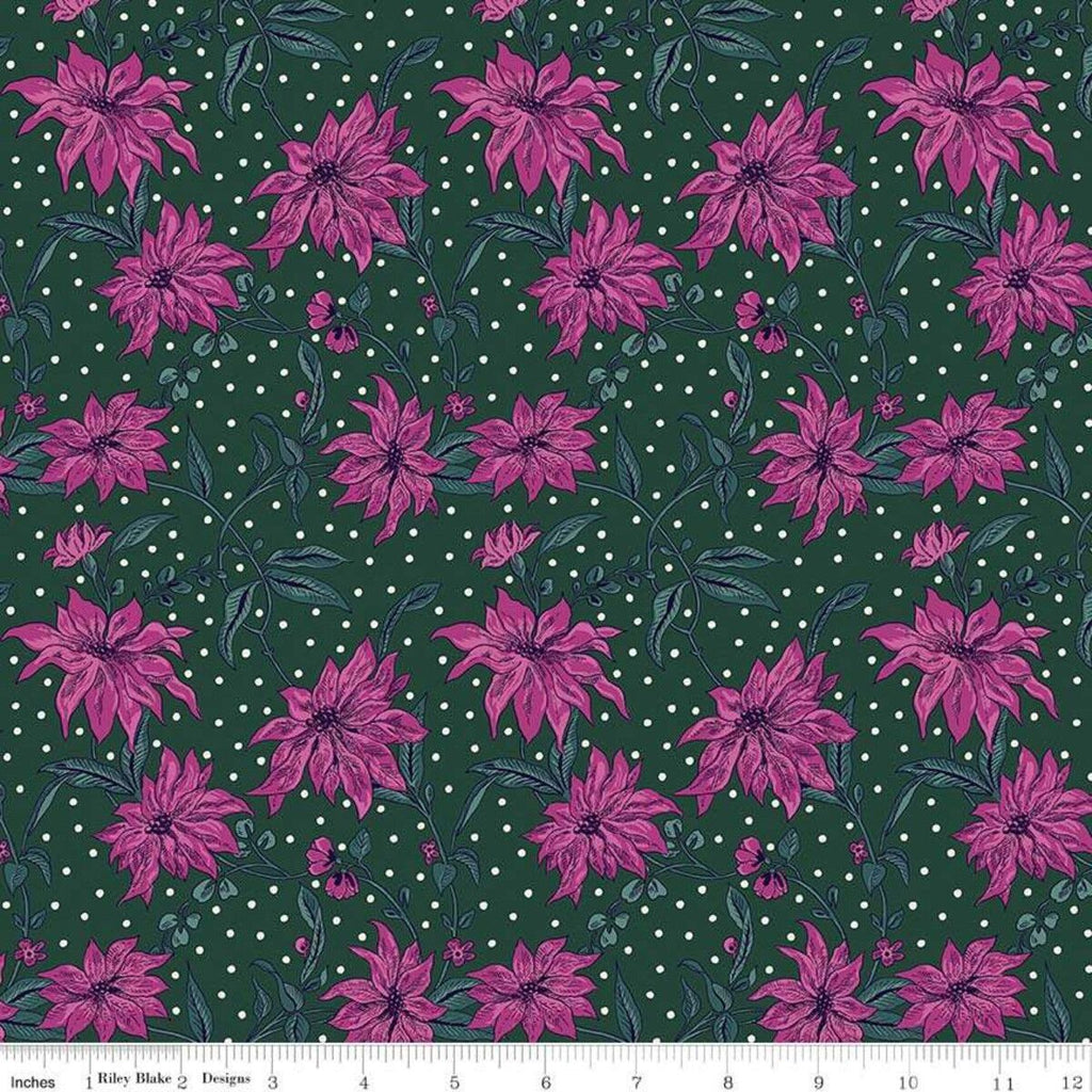 Liberty - Season's Greetings - Poinsettia - Forest Green - Cotton Fabric - LF04775662X