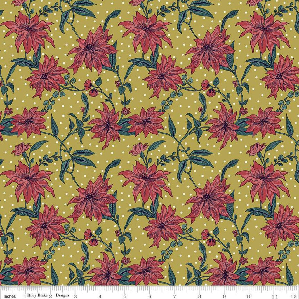 Liberty - Season's Greetings - Poinsettia - Mustard - Cotton Fabric -
