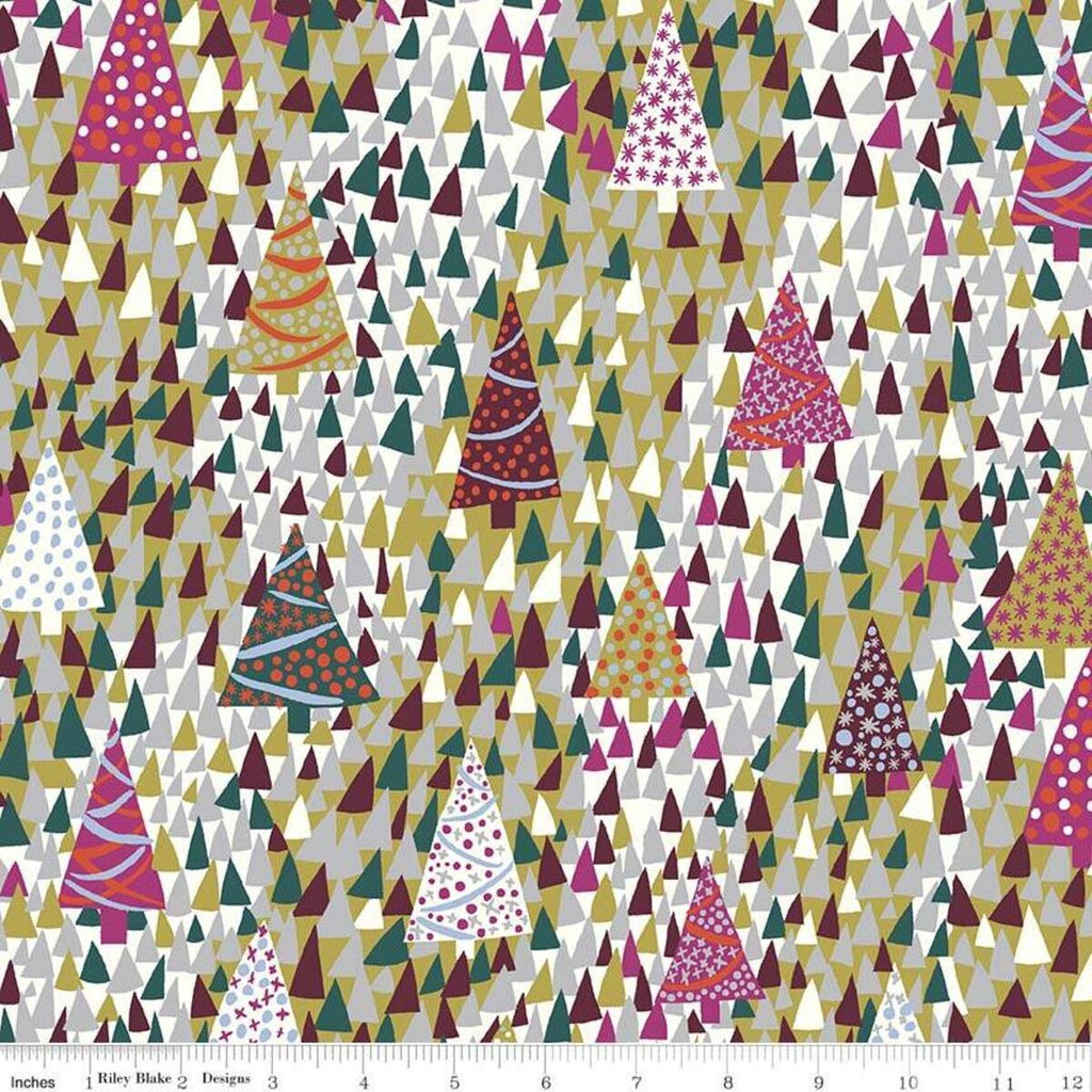 Liberty - Season's Greetings - Sparkling Forest - Forest - Cotton Fabric - LF04775666Y