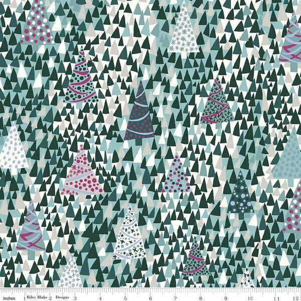 Liberty - Season's Greetings - Sparkling Forest - Forest - Cotton Fabric - LF04775666X