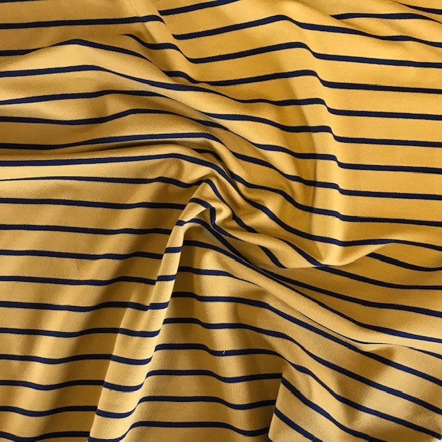 Loopback Yarn Dyed Jersey Sweat -  Mustard with Navy Stripe