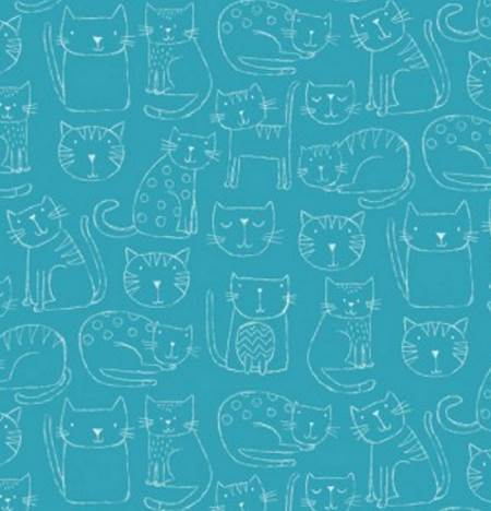 *NEW* Makower - Kitty - Blue - Fat Quarter Pack (6)