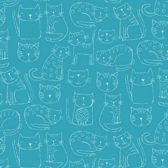 *NEW* Makower - Kitty - Outline - Blue