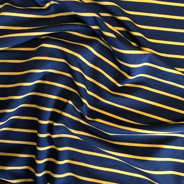 Loopback Yarn Dyed Jersey Sweat -  Navy with Mustard Stripe