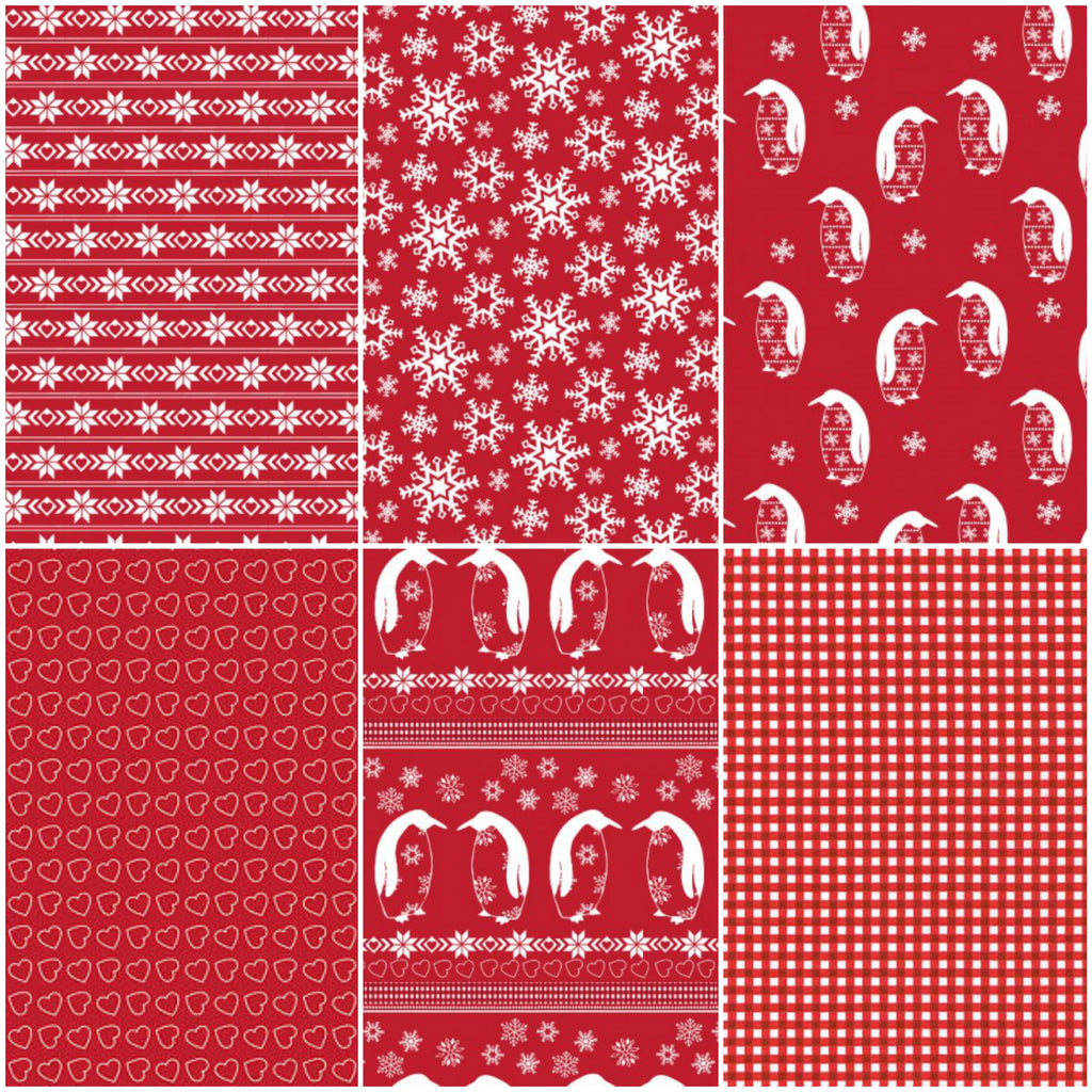 Nordic - Red - Fat Quarter Pack (6)