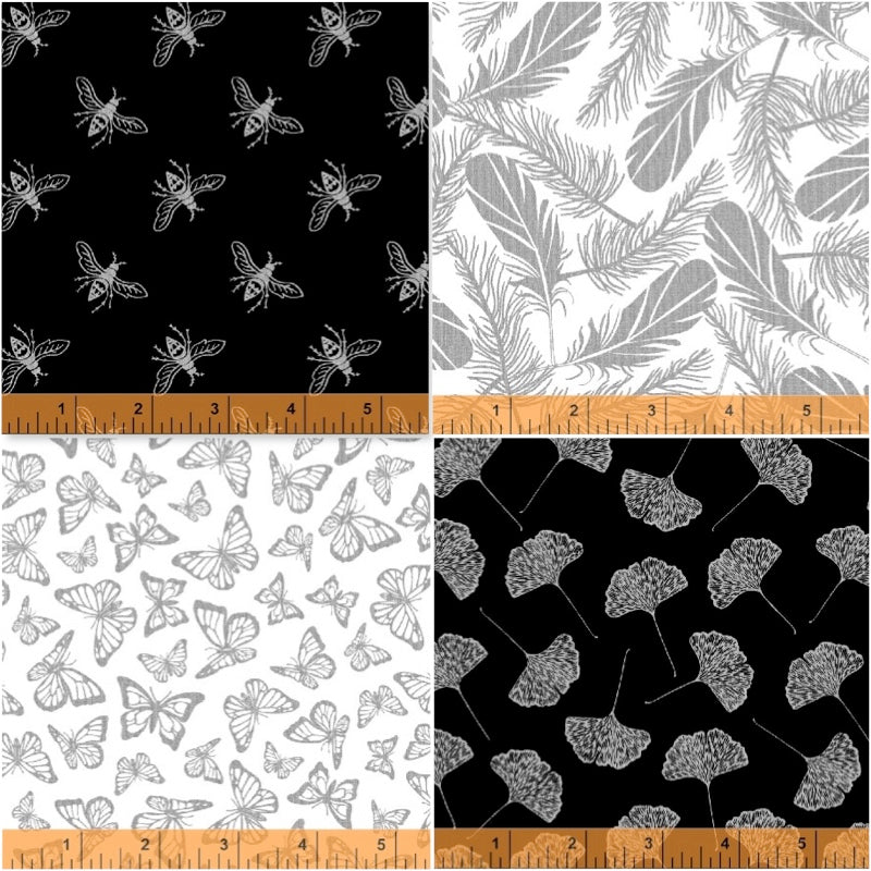*NEW* - Precious Metal - Silver - Fat Quarter Pack (4)