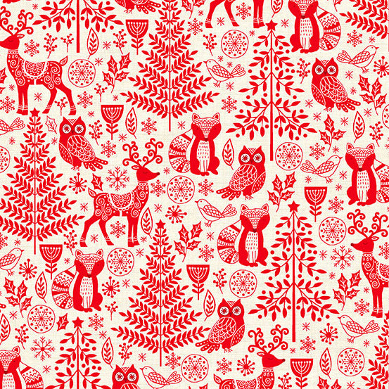 Makower Scandi - Forest Animals - Red - TP-2125-R