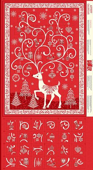 Makower - Scandi - Advent Calendar Panel - Red - TP-2110-R