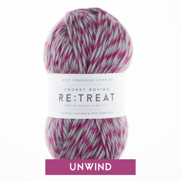 West Yorkshire Spinners - Re:Treat - Chunky - Unwind - Variegated Roving Grey and Pink Yarn Wool