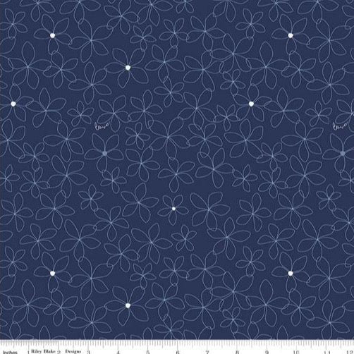 Something Borrowed - Sketched Flower - Navy