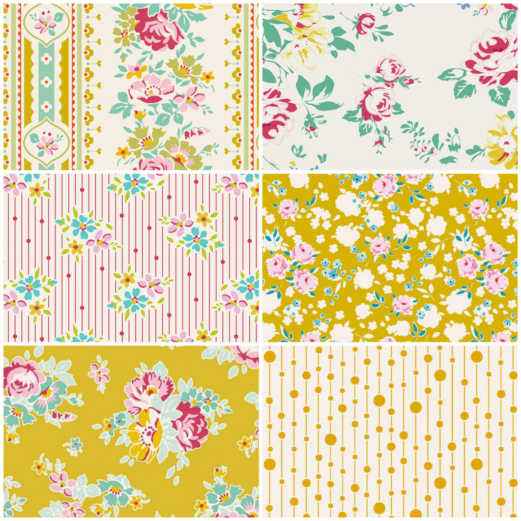 Tilda Apple Butter - Fat Quarter Pack - Mustard (6)
