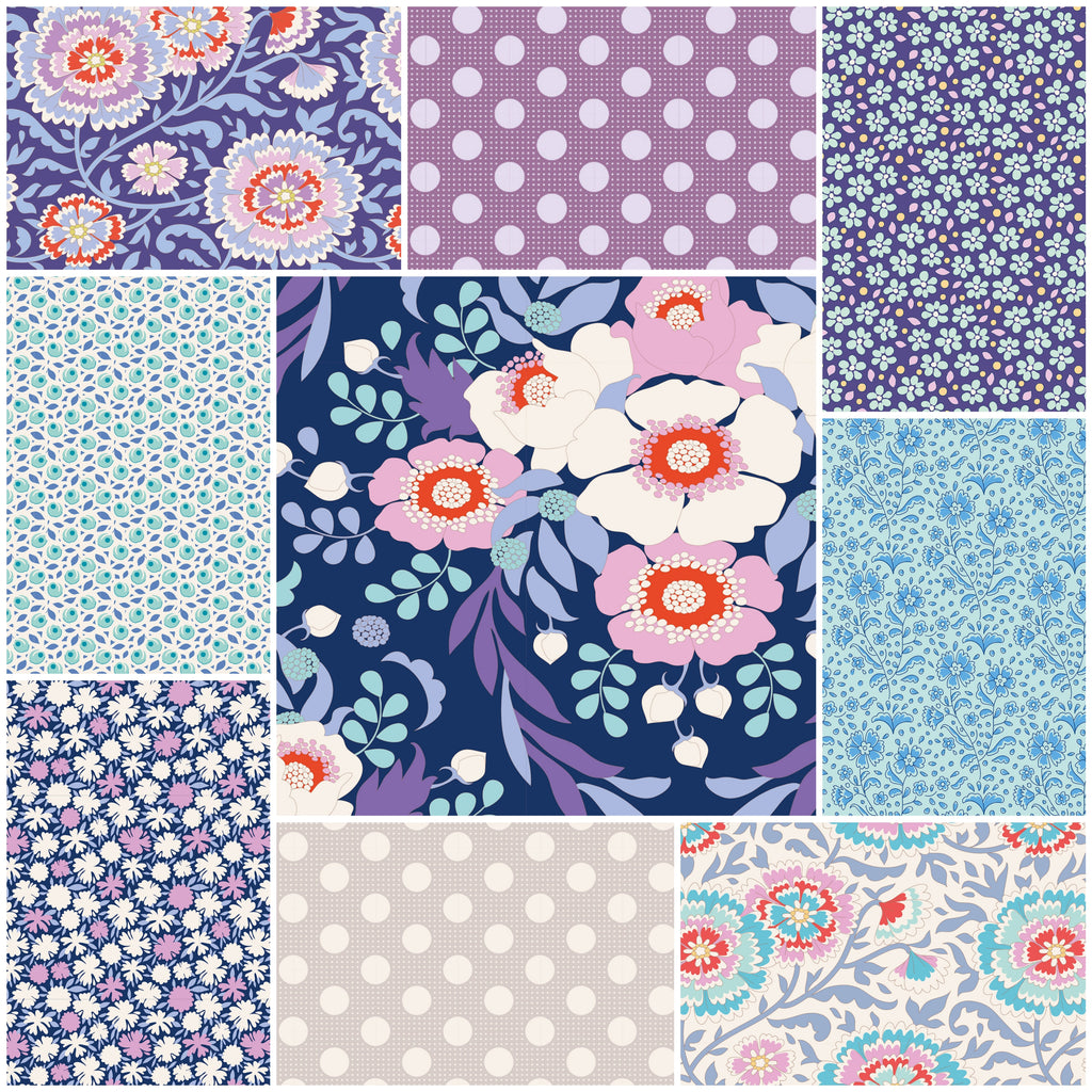 Tilda Bird Pond - Fat Quarter Pack - Blue (10)