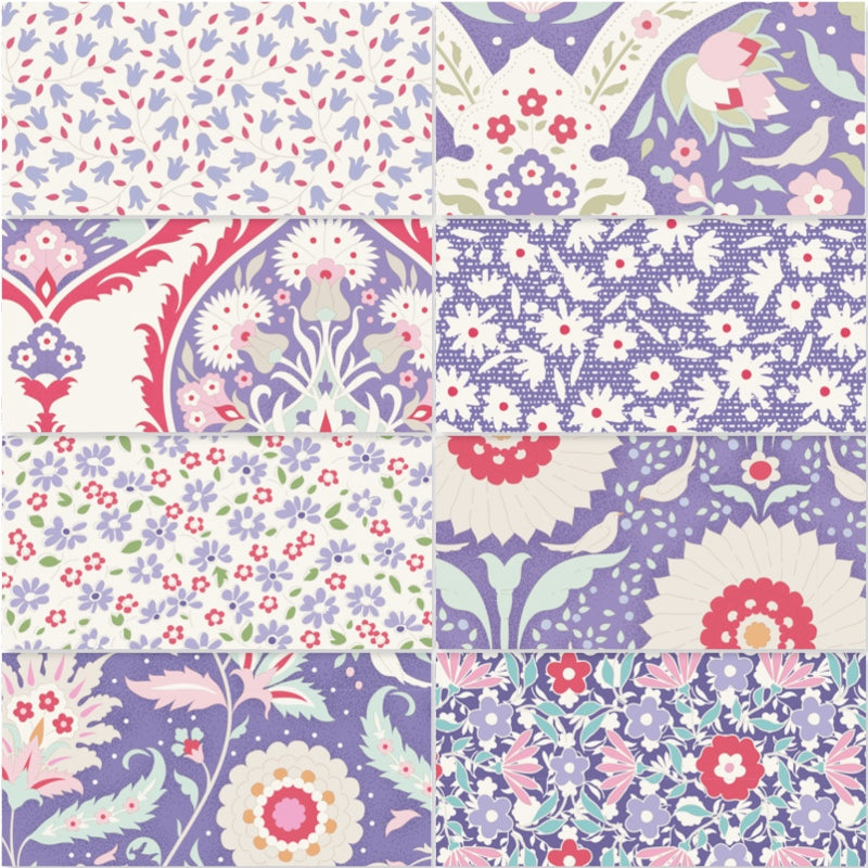 Tilda Bon Voyage - Fat Quarter Pack - Blue (8)