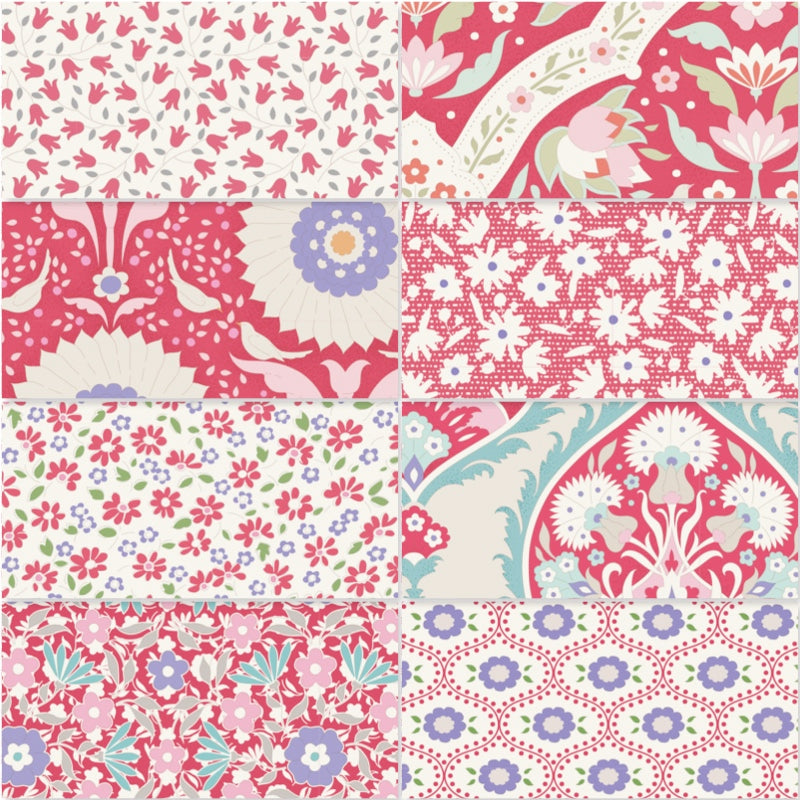 Tilda Bon Voyage - Fat Quarter Pack - Red (8)