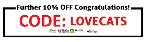 Get 10% off on already reduced prices with discount code: LOVECATS