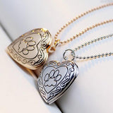 Heart Shapped Cat Paw Photo Locket Necklace