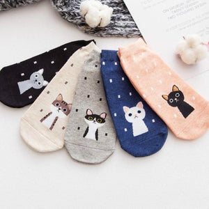 Funky Cat Printed Ankle Socks