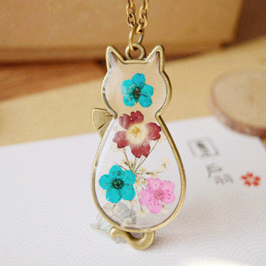 Handmade Glass Cat Necklace With Natural Dried Flowers