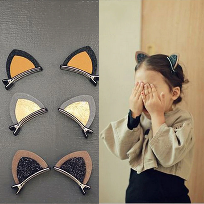 Glittery Cat Ears Hairpins
