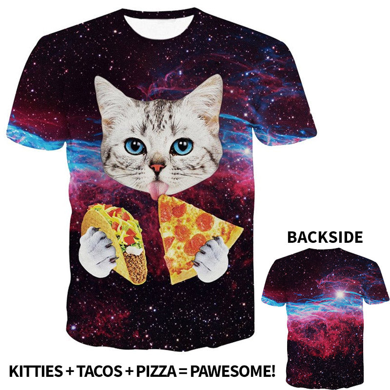 3D Cat Eating Pizza Taco in Space All-Over Printed T-Shirt