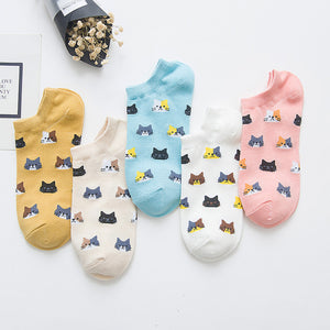 Pack of 5 Colors Cat Pattern Ankle Cotton Socks