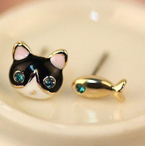 Blue Crystal Eye Cat n Fish Earrings
