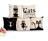 Black Cat Printed Pillow/Cushion Cover