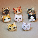 Cute Cat Printed Stud Earrings