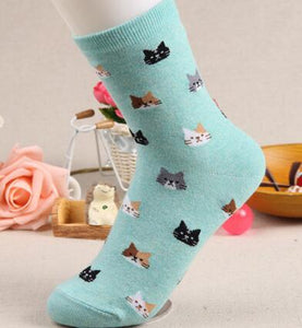 Cat Pattern Cotton Socks