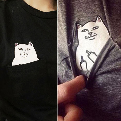 Cat Flicking Off In Pocket Funny T-Shirt