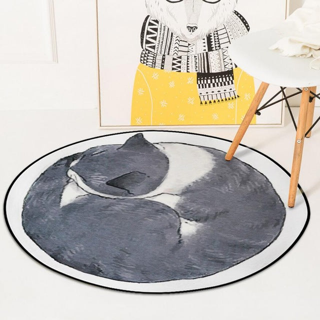 Lazy Cat Round Carpet